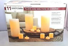 "NEW 11 PACK INGLOW"" FLAMELESS LED CANDLES PILLARS VOTIVES AND TEA LIGHTS - NIB"