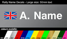 Custom name decals - RACE / RALLY style with GB flag - vinyl stickers LARGE