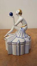 """Superbe art deco années 1920 style """"egyptian revival"""" lady figurées poudre/jewel box"""