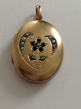 Pretty Antique 9ct Gold Gem Set Oval Hinged Locket