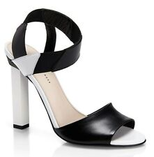 New HUGO Hugo Boss Lizette Two-Tone Italian Leather Sandal Heel ~Black/White *10