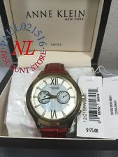 Anne Klein New York Womens Red Snakeskin Leather Gold Day/Date Watch 12/2158WMBE