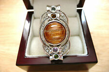GOLDEN RUTILATED QUARTZ & TOURMALINE 925 SILVER CABOCHON LONG LARGE RING SZ N 7