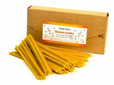 50 Natural Beeswax Taper Candles Honey Scent Gift Box (6 inches)