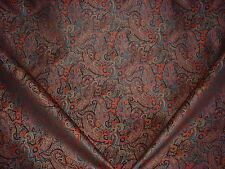 12+y SCHUMACHER STRIKING JET LAPIS FLORAL PAISLEY BROCADE UPHOLSTERY FABRIC