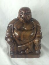 Solid Wooden Monkey Pod Buddha Happy Asian Smiley Lucky EE