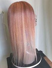 """100% Human Hair wig piece Wiglet Topper lt & dk  auburn w/blonde 22"""" long  NEW"""