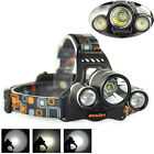 8000LM 3x XM-L T6+2R5 LED 18650 Headlamp Headlight Flashlight Torch Rechargeable
