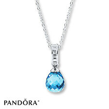 Authentic Pandora 925 Silver Frosted Droplet Necklace Sky Blue Crystal &Clear CZ