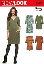 NEW LOOK SEWING PATTERN Misses' Knit Dress  Neckline  Length Var 10-22 6298 SALE