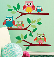 WALLIES OWLS on branches wall stickers 25 colorful decals nursery decor leaves