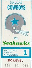 1977 Cowboys v Seattle Seahawks Ticket 8/13/77 Dallas Season Champs 32426