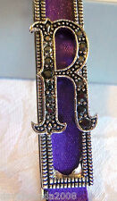 TRIFARI RARE LETTER R BOOKMARK MAGNETIC NEW IN BOX  MARCASITES PURPLE RIBBON
