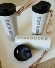 Starbucks Stainless Steel Tumbler double walled with Leather Handle Cream 16 oz