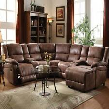 Full Reclining Home Theater Sectional Sofa Set Console Chair Chaise Brown Couch