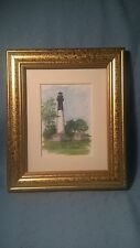 "Hunting Isl Lighthouse Print: Wood Framed & Matted; Ronald Williams 1998 9.5""x8"""