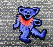 GRATEFUL DEAD DANCING BEAR DARK BLUE/RED Iron or Sew-On Patch