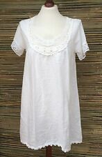 LAGENLOOK LINEN LAYERING LACE SOFT LONG TUNIC-DRESS *WHITE*SIZE  S/M BUST 38""
