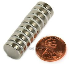 "N50 Neodymium Magnets Dia 1/2x1/8"" Disc NdFeB Rare Earth Magnet 10-Count"