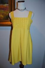 *KARTA Yellow Sunshine Jeweled Beaded Empire Waist Cocktail Party Dress Size L