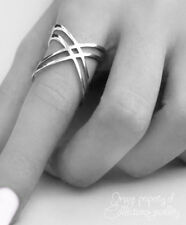 Criss Cross Ring X Double 925 Solid Sterling Silver High Polished Band Size 8