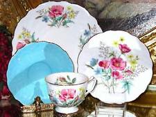 Vintage AYNSLEY 4 pcs.TURQUOISE & PINK WILD ROSES TEXTURED TEA CUP AND SAUCER
