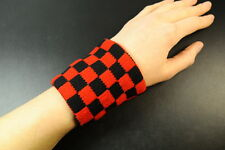 SKATER/GOTH/ROCK/PUNK CHICK UNISEX RED/BLACK CHECKERED SWEAT WRIST BAND(UW9)
