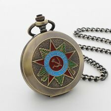 Men Unisex Russian Theme Full Hunter Wind Up Mechanical Pocket Watch Chain