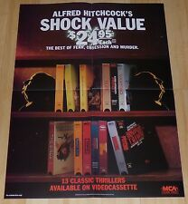 ALFRED HITCHCOCK 1980's ORIGINAL VHS VIDEO MOVIE POSTER VERTIGO PSYCHO THE BIRDS
