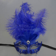 Masquerade Mask Feather Royal Blue Venetian Mardi Gras Masks for Women M6149C