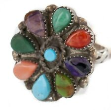 $360Tag Petit Point Zuni Silver Natural Turquoise Multicolor Native Ring
