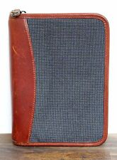 """FRANKLIN COVEY BROWN LEATHER GRAY BUSINESS PLANNER ORGANIZER BINDER 8 3/4""""x6 1/2"""