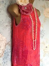 new coral red river island bead 20s deco gatsby party evening shift dress 8 36
