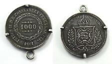1861 Brazil 1000 Reis / Mil Reis Silver Coin in a Silver Mount Pendant or Fob