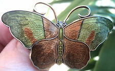 LARGE Attractive Silver & Enamel Butterfly Brooch - Hroar Prydz Norway