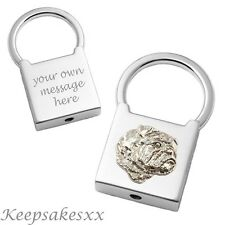English Bulldog Dog Sterling Silver - Padlock Keyring + Personalised Engraving