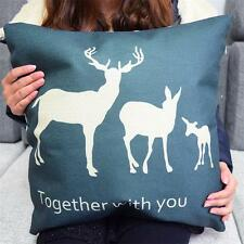 Deer Family  linen Throw Pillow Cases Home Decorative Cushion Cover Square
