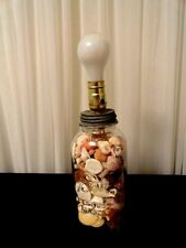 Vintage Ball Glass Jar with Zinc Lid Lamp Light Filled w/ Seashells & Pink Glass