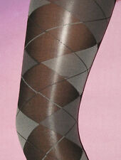 Black & Grey Opaque ARGYLE Pattern LADIES TIGHTS. 8-12. NEW check tartan