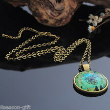 HX 1PC Reverse Clock Pattern Time Pendant Necklace Retro Unique Chic