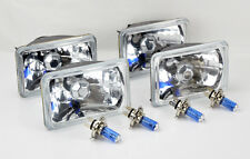 "FOUR 4x6"" Halogen Semi Sealed H4 Crystal Clear Headlights Conversion w/ Bulbs"