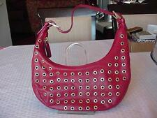 GIANNI CHIARINI RED GENUINE LEATHER SMALL HOBO HANDBAG PURSE MADE IN ITALY