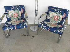 SET OF TWO CHROME T BACK MILO BAUGHMAN ATTR ARM CHAIRS