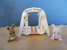 SYLVANIAN DOUBLE BABY SWING WITH TWO BABIES