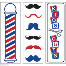 "Barber Shop SC-9021 decals variety pack, 2""W x 7""H,   3-Decals, Clear Bkgd."