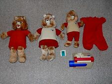 Broken Lot of 3 Vintage Teddy Ruxpin Plush Dolls for Parts or Repair with Extras