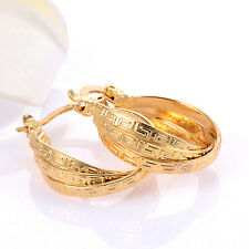 Womens 22K Solid Yellow Gold Filled Twisted Embossed Hoop Earring Party Vogue