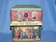 Advertising Tin Silver Crane Fine Tea Merchant Caddy Tin Hinged Canopy Rare tin