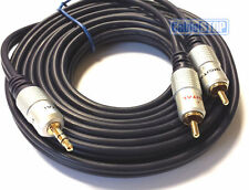 5m Stereo 3.5mm Jack Plug to TWIN 2 x RCA PHONO Audio Lead GOLD CABLE 5 METRES