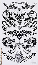 Tatouage temporaire tribal dragon 10 stickers body art